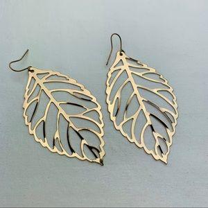 Thin Gold Tone Leaf Dangle Earrings